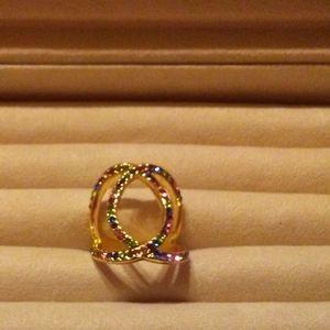 Gold Tone Multi Color Rinestone Ring